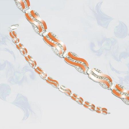 Браслет из серебра с золотыми вставками, модель 049