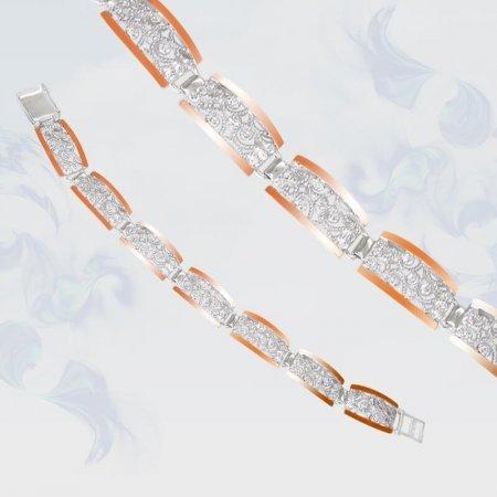 Браслет из серебра с золотыми вставками, модель 101