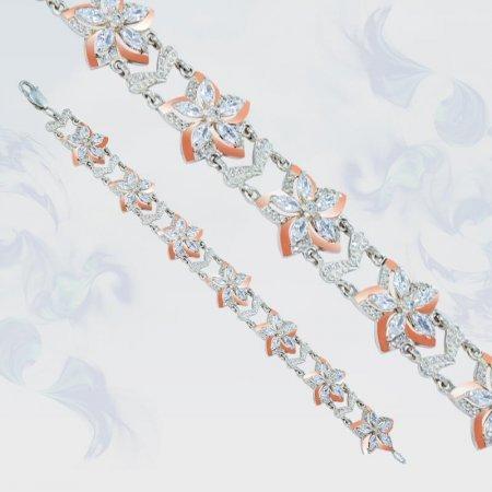 Браслет из серебра с золотыми вставками, модель 090