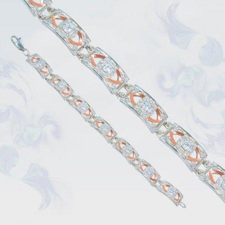 Браслет из серебра с золотыми вставками, модель 138