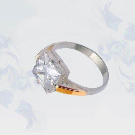 Кольцо из серебра с золотыми вставками, модель 001