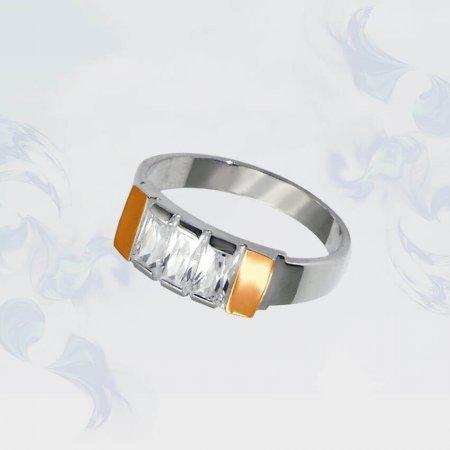 Кольцо из серебра с золотыми вставками, модель 014