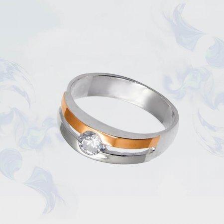 Кольцо из серебра с золотыми вставками, модель 027