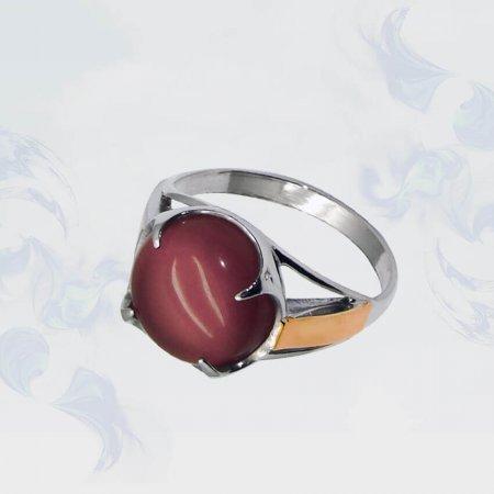 Кольцо из серебра с золотыми вставками, модель 031