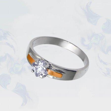 Кольцо из серебра с золотыми вставками, модель 032