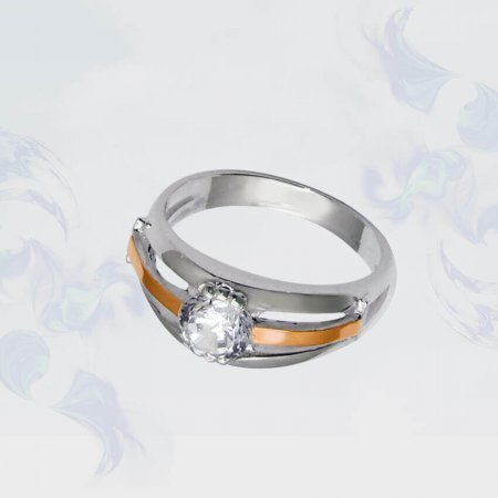 Кольцо из серебра с золотыми вставками, модель 033