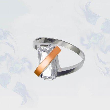 Кольцо из серебра с золотыми вставками, модель 034
