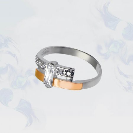 Кольцо из серебра с золотыми вставками, модель 038