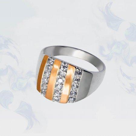 Кольцо из серебра с золотыми вставками, модель 044