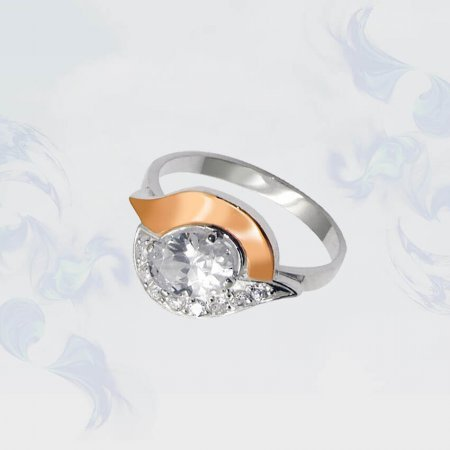 Кольцо из серебра с золотыми вставками, модель 047