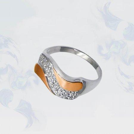 Кольцо из серебра с золотыми вставками, модель 048