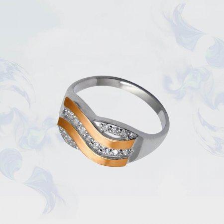 Кольцо из серебра с золотыми вставками, модель 049