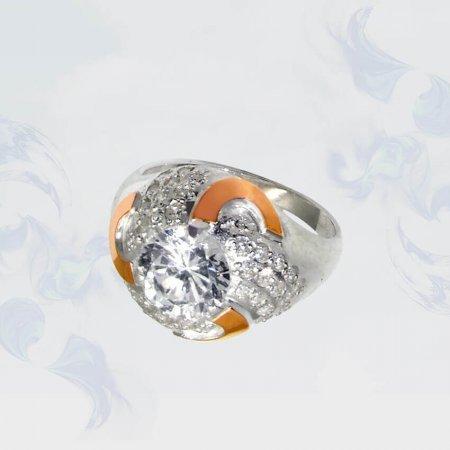 Кольцо из серебра с золотыми вставками, модель 050