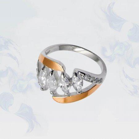 Кольцо из серебра с золотыми вставками, модель 052