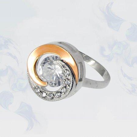 Кольцо из серебра с золотыми вставками, модель 053