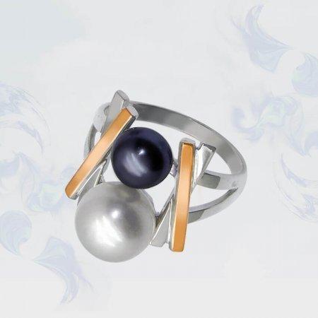Кольцо из серебра с золотыми вставками, модель 054