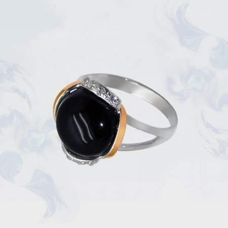Кольцо из серебра с золотыми вставками, модель 056