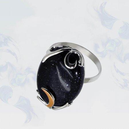 Кольцо из серебра с золотыми вставками, модель 059