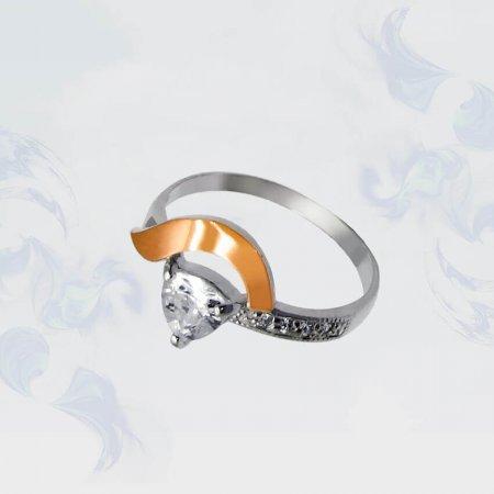 Кольцо из серебра с золотыми вставками, модель 063
