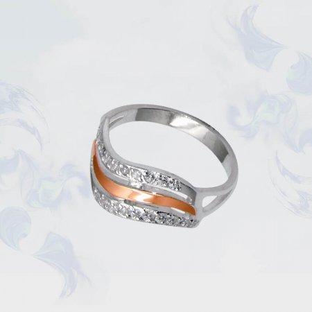 Кольцо из серебра с золотыми вставками, модель 065