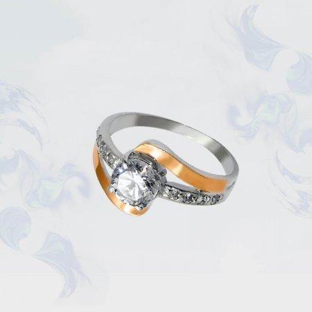 Кольцо из серебра с золотыми вставками, модель 069