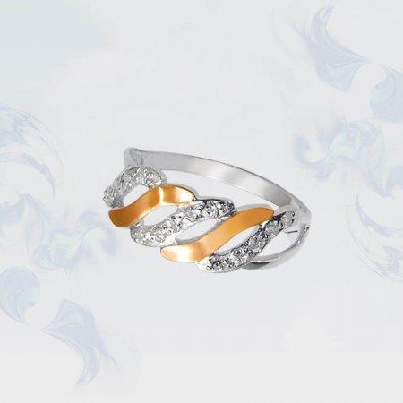 Кольцо из серебра с золотыми вставками, модель 070