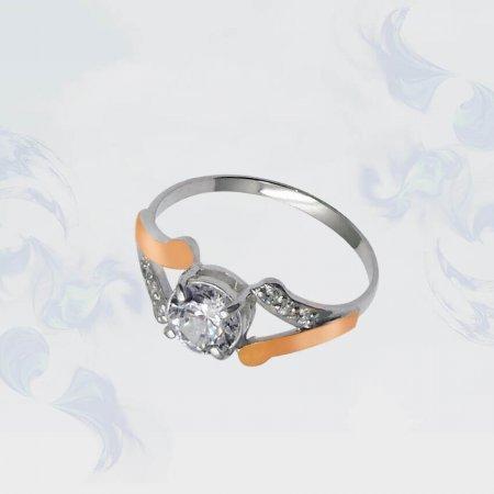 Кольцо из серебра с золотыми вставками, модель 072