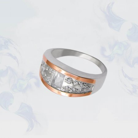 Кольцо из серебра с золотыми вставками, модель 073