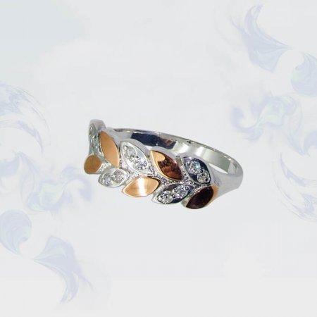 Кольцо из серебра с золотыми вставками, модель 075