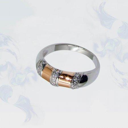 Кольцо из серебра с золотыми вставками, модель 076