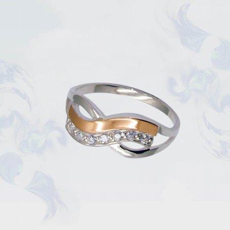Кольцо из серебра с золотыми вставками, модель 077