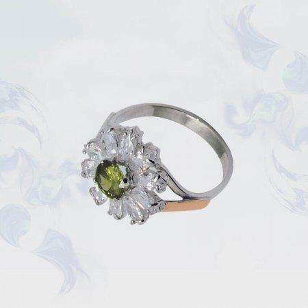 Кольцо из серебра с золотыми вставками, модель 078