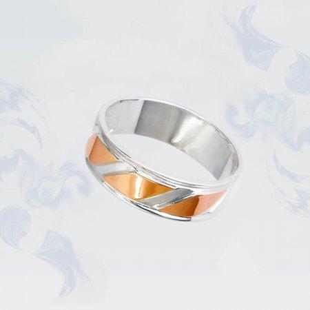 Кольцо из серебра с золотыми вставками, модель 080/1