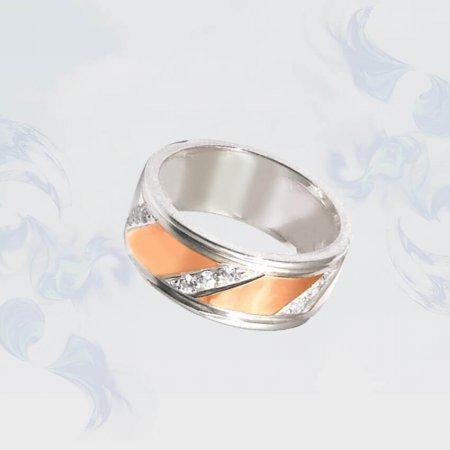 Кольцо из серебра с золотыми вставками, модель 080