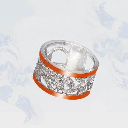 Кольцо из серебра с золотыми вставками, модель 086