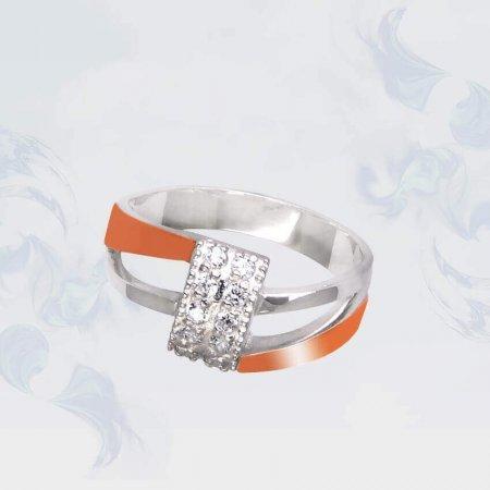 Кольцо из серебра с золотыми вставками, модель 087
