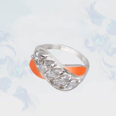 Кольцо из серебра с золотыми вставками, модель 088