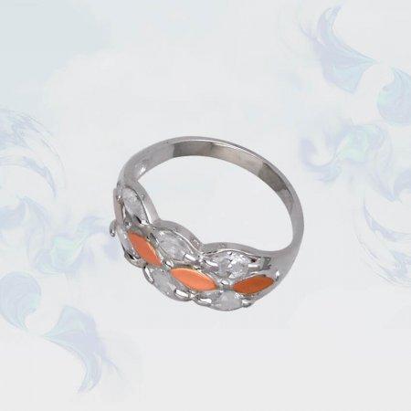 Кольцо из серебра с золотыми вставками, модель 089