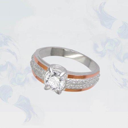 Кольцо из серебра с золотыми вставками, модель 091