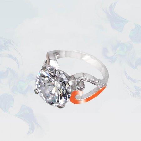 Кольцо из серебра с золотыми вставками, модель 093