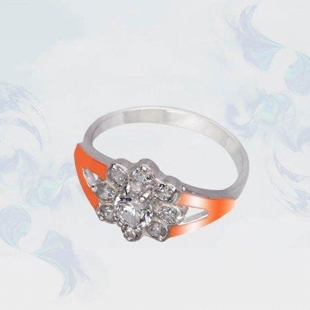 Кольцо из серебра с золотыми вставками, модель 097