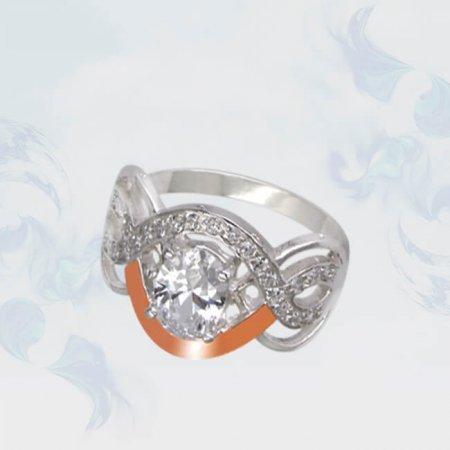 Кольцо из серебра с золотыми вставками, модель 099