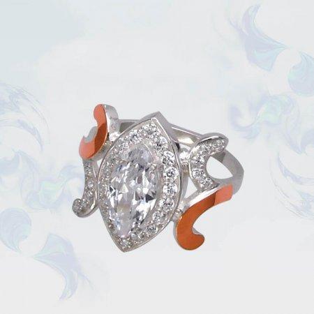 Кольцо из серебра с золотыми вставками, модель 100
