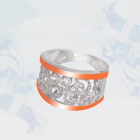 Кольцо из серебра с золотыми вставками, модель 101