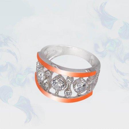 Кольцо из серебра с золотыми вставками, модель 102