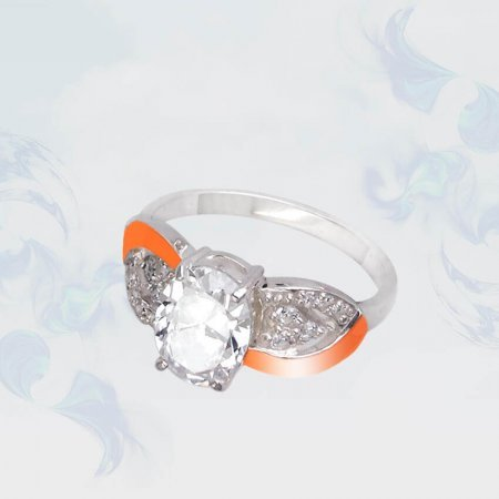 Кольцо из серебра с золотыми вставками, модель 106