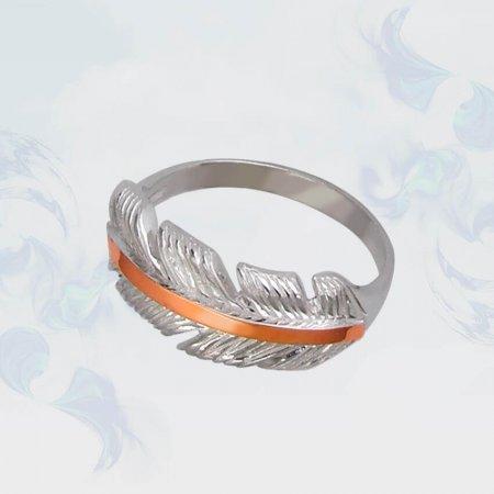 Кольцо из серебра с золотыми вставками, модель 108