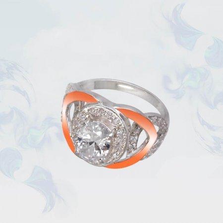 Кольцо из серебра с золотыми вставками, модель 109