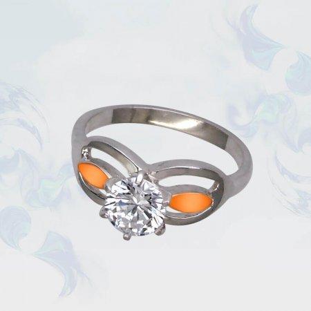 Кольцо из серебра с золотыми вставками, модель 110