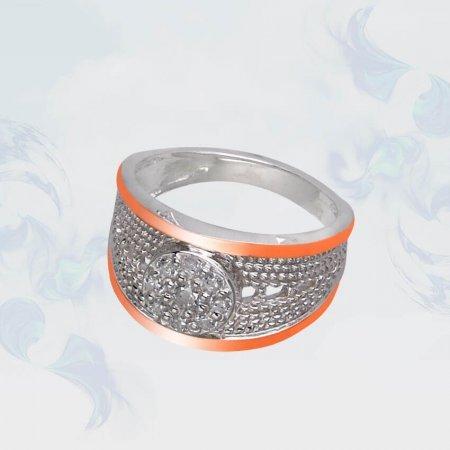 Кольцо из серебра с золотыми вставками, модель 111